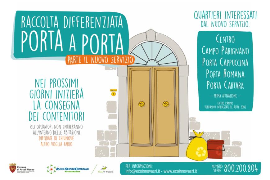 """Al via il nuovo servizio di """"Raccolta Porta a Porta"""" ad Ascoli Piceno"""