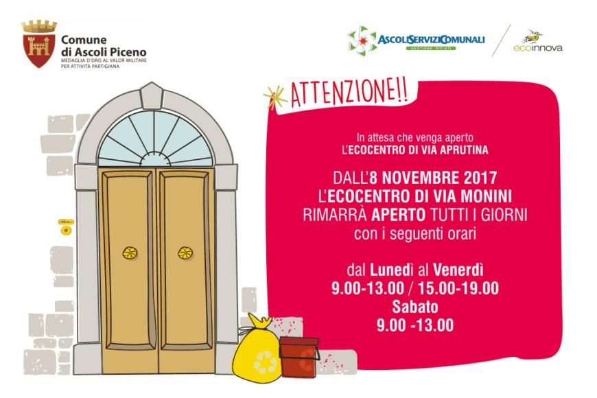Nuovi orari di apertura Ecocentro in Via Monini