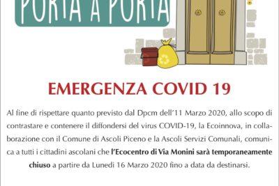Emargenza Coronavirus – Chiusura Temporanea Ecocentro Via Monini (AP)